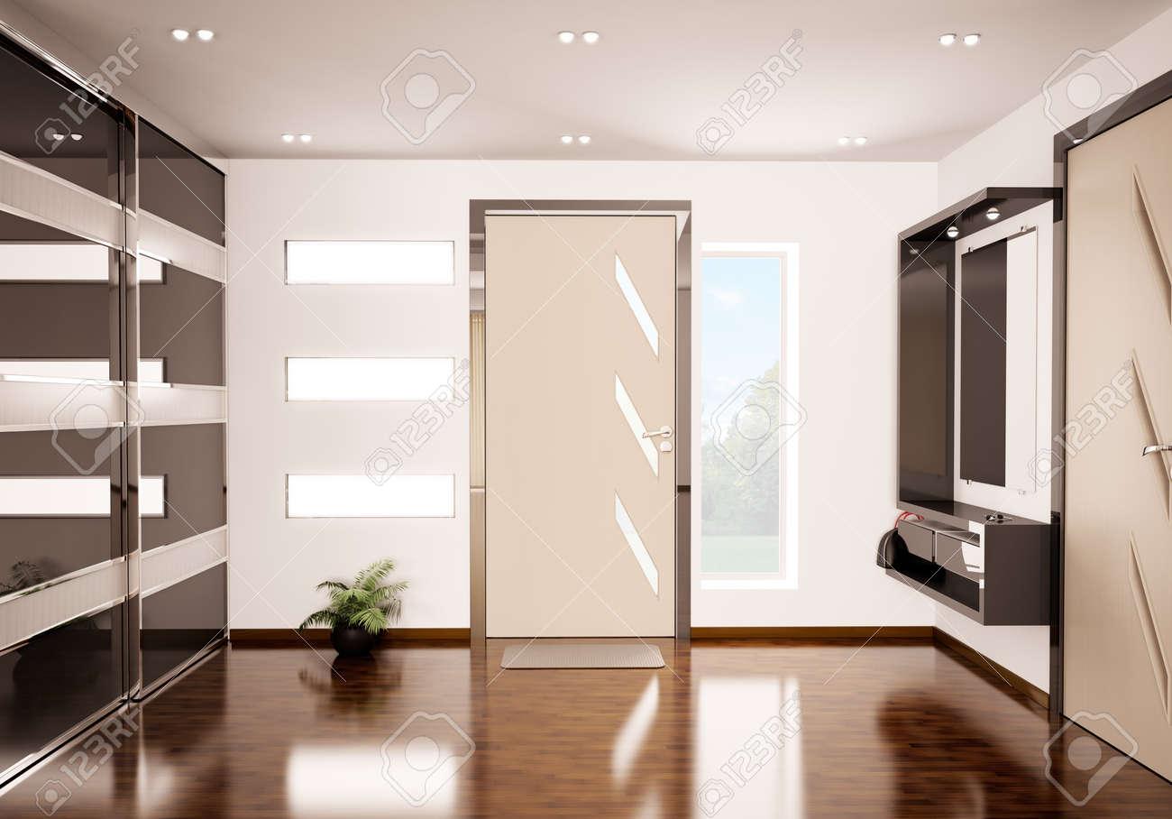 Modern interior of hall 3d render Stock Photo - 9020838