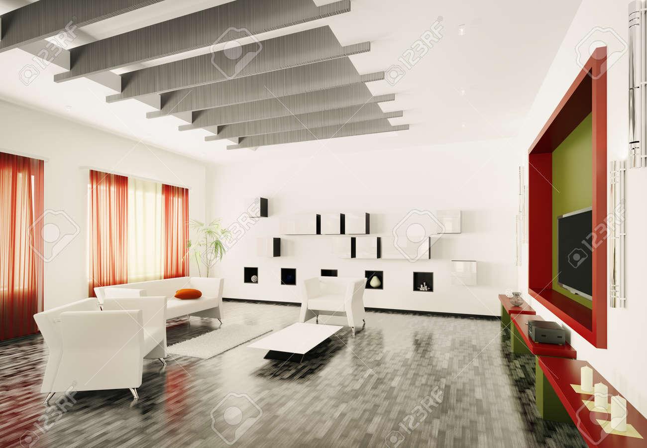 Home interior of modern living room 3d render Stock Photo - 9020846