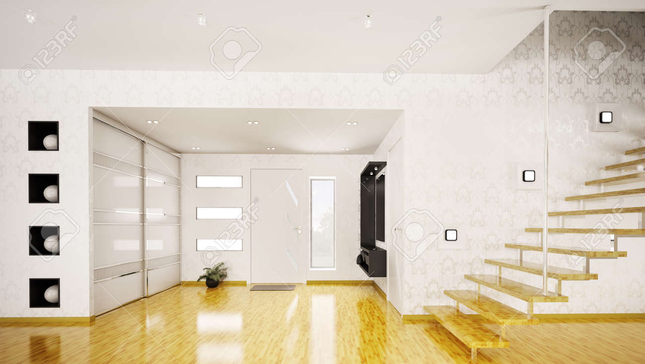 Modern interior of hall with staircase 3d render Stock Photo - 9092107