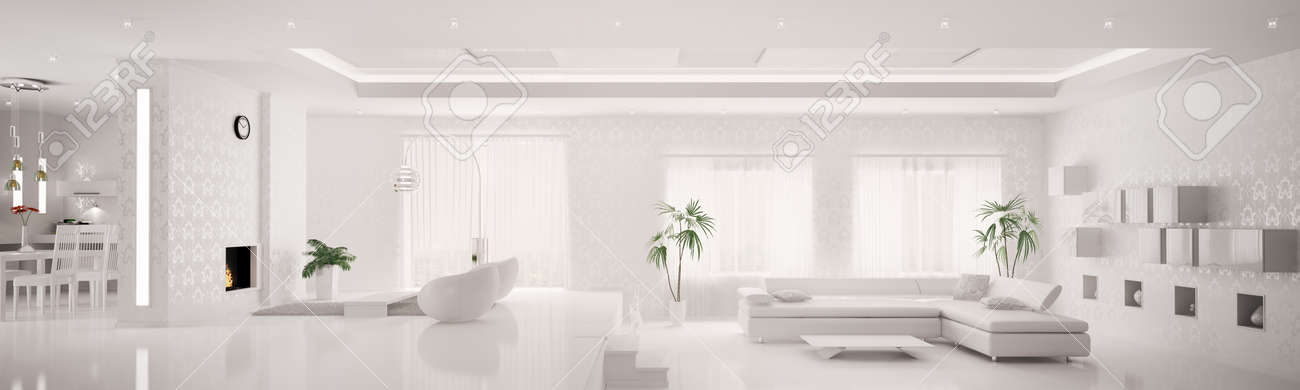 White home interior of modern apartment living room kitchen panorama 3d  render Stock Photo - 9092104