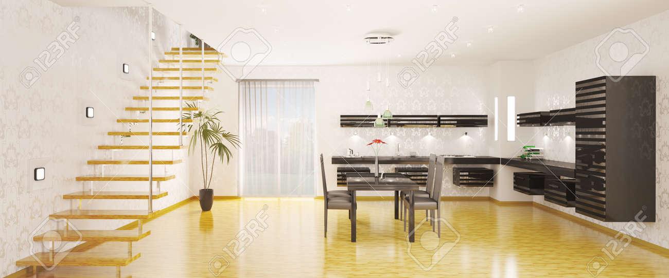 Interior de cocina moderna panorámica 3d render fotos, retratos ...
