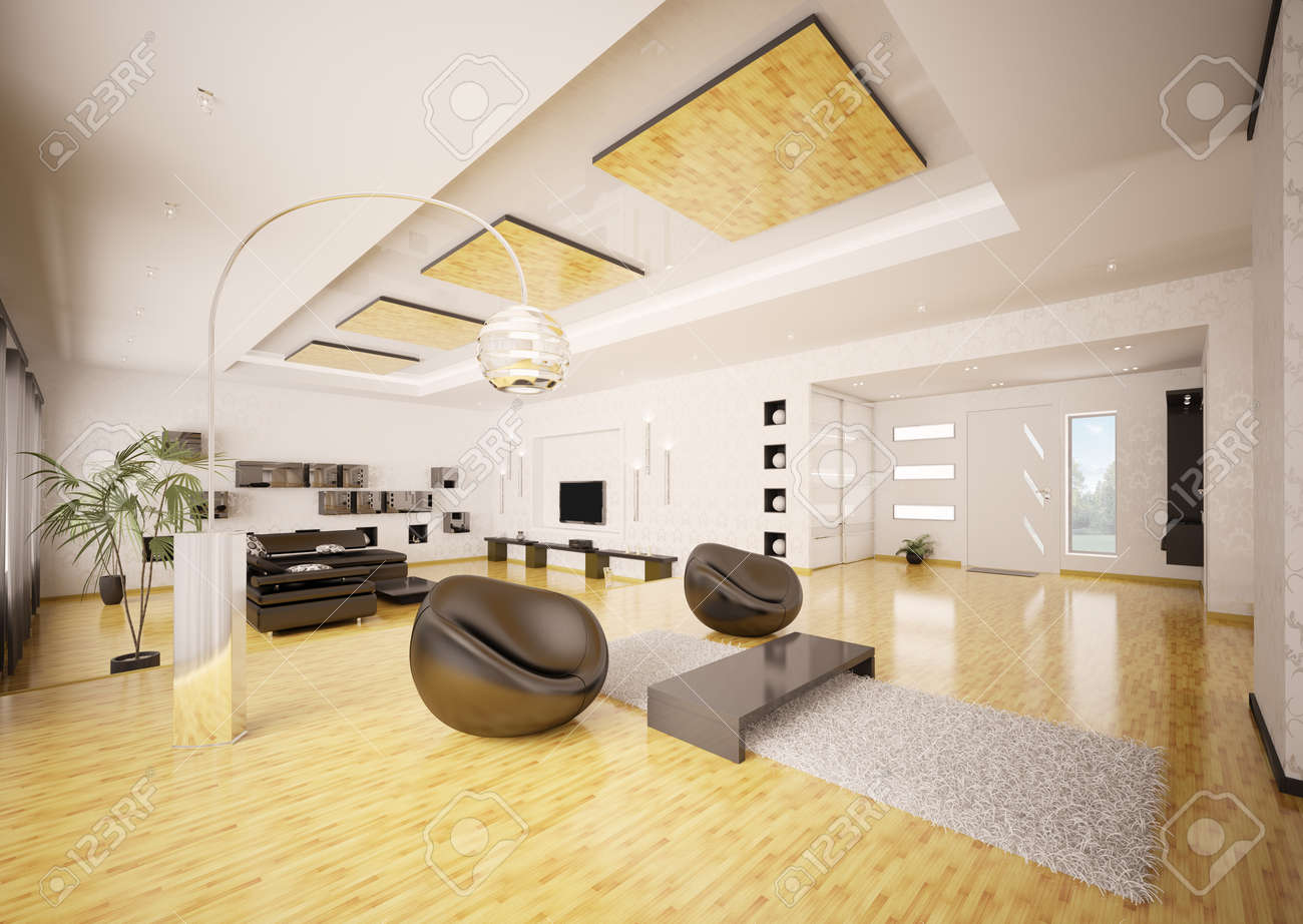 Home Interior Of Modern Apartment Living Room Hall 3d Render Stock