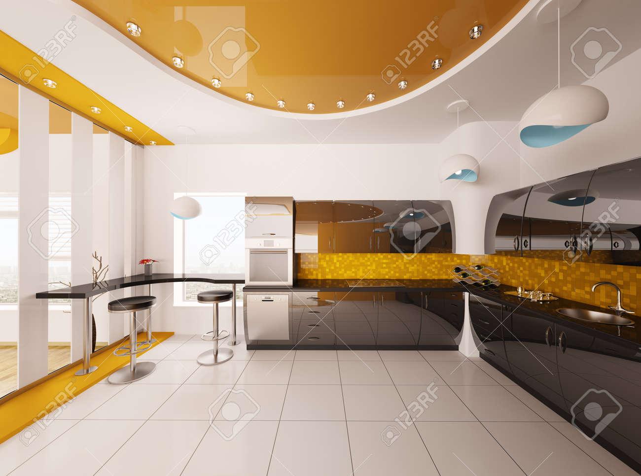 Modern Kitchen 3d Design interior design of modern orange black kitchen 3d render stock