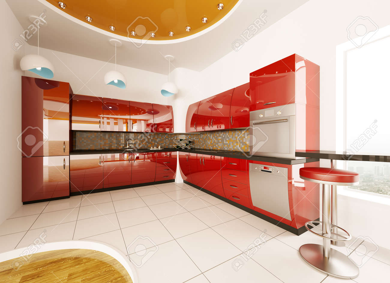 Red Kitchen Floor Interior Design Of Modern Red Kitchen 3d Render Stock Photo
