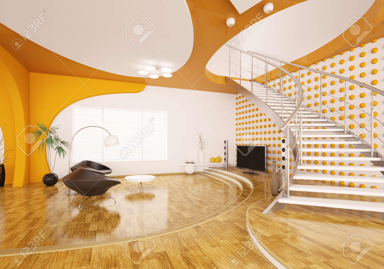 Modern interior design of living room with staircase 3d render Stock Photo - 9316363