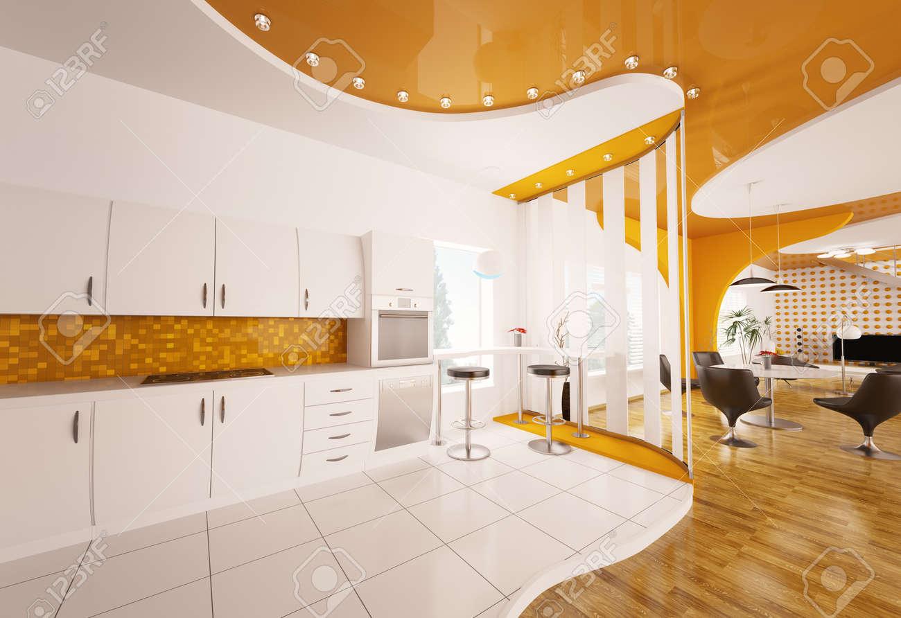 Diseño De Interiores De Render 3d Moderna Cocina Naranja Blanco ...