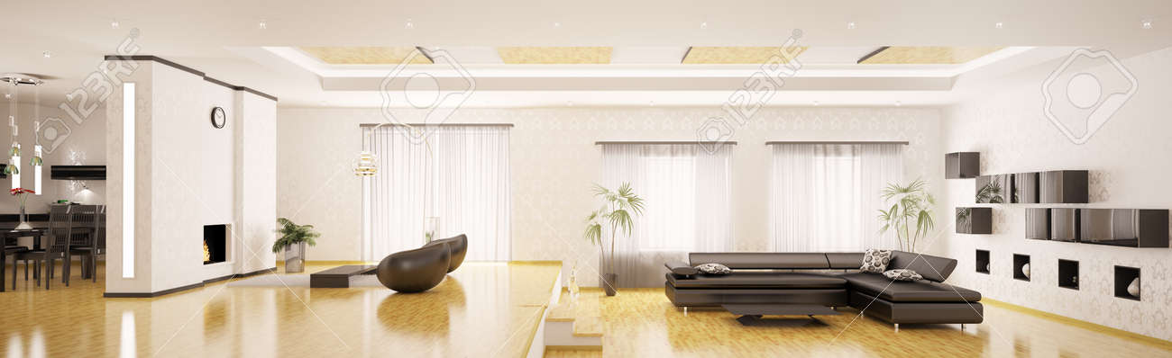 3d Panorama Interior Design Of Modern Apartment Render