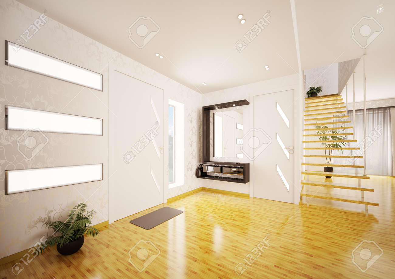 Modern interior design of entrance hall with staircase 3d render Stock Photo - 9450192