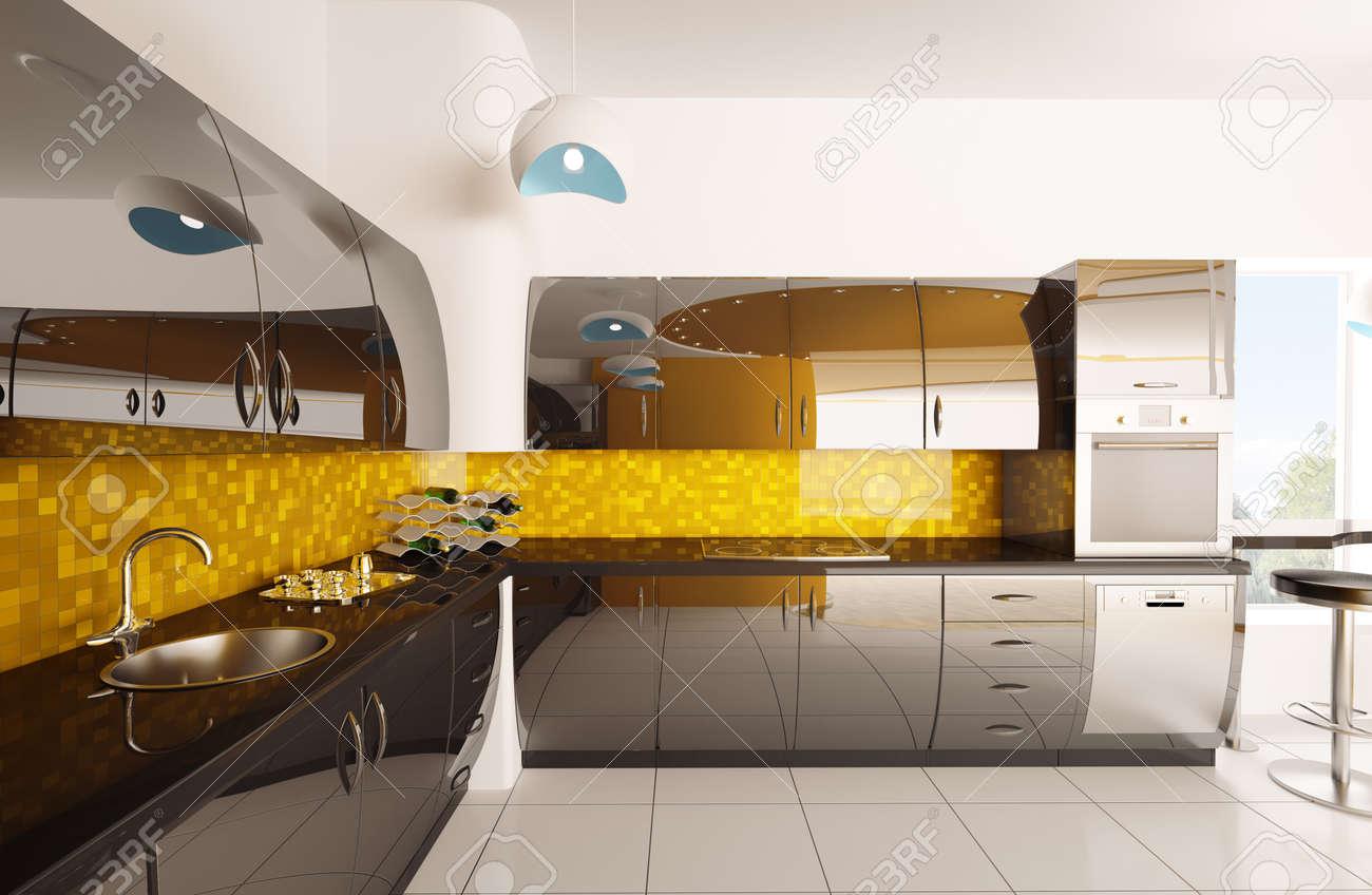 Diseño De Interiores De Render 3d Moderna Cocina Negro Naranja Fotos ...