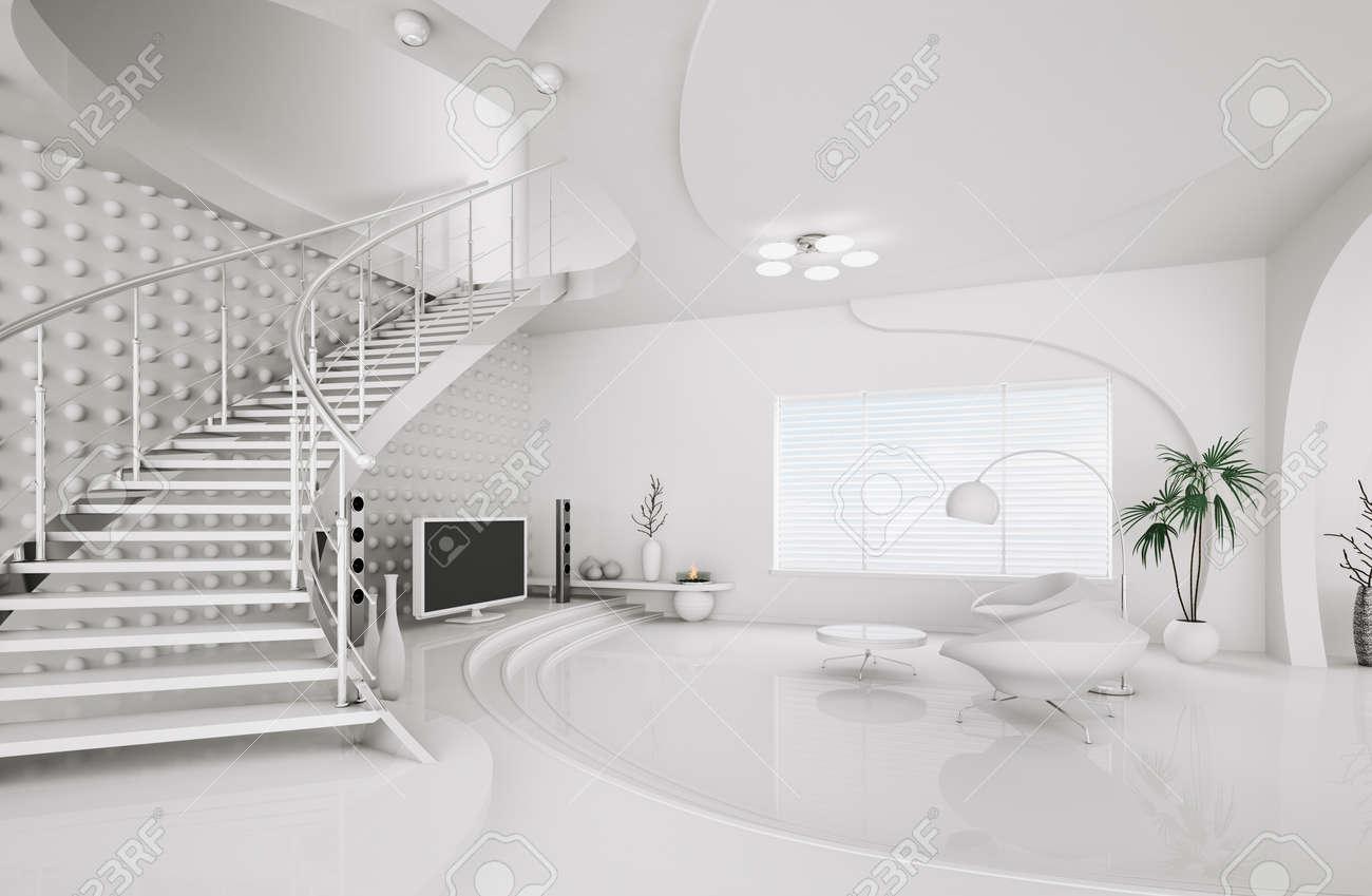 White Living Room Design Part - 40: Modern Interior Design Of White Living Room With Staircase 3d Render Stock  Photo - 9450190