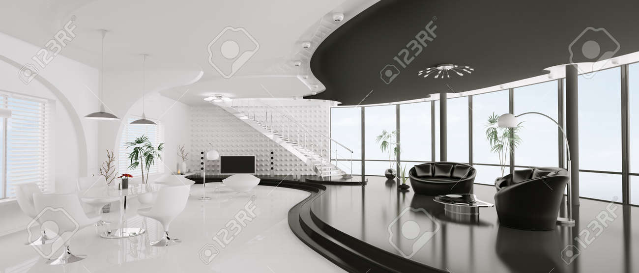 Interior design of modern apartment panorama 3d render Stock Photo - 9450193