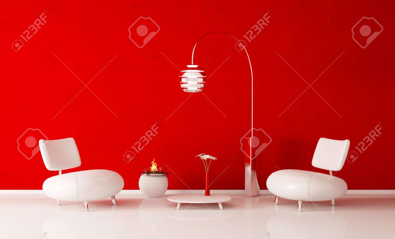 Intérieur moderne de chambre avec mur rouge et blanc fauteuils de rendu 3d