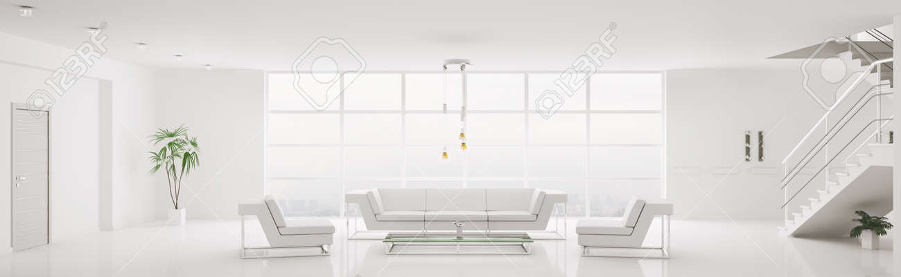 White Home Interiors white home interior of modern apartment living room  panorama