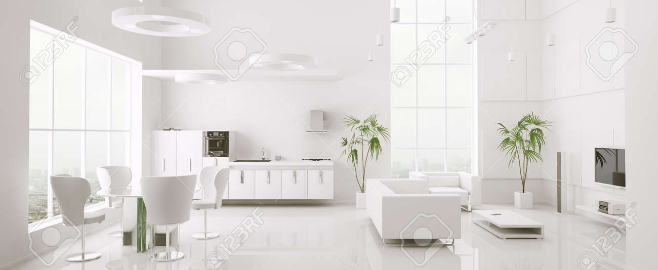 Interior Of Modern White Apartment Living Room Kitchen 3d Render Stock  Photo   9769295