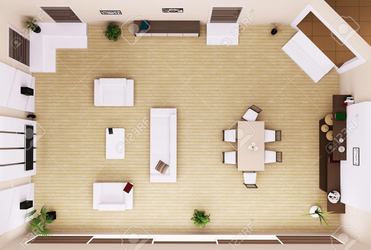 Bovenaanzicht van moderne woonkamer interieur 3d render royalty ...