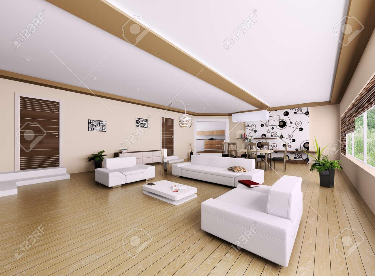 Intérieur de l'appartement moderne, salon 3d render banque d ...