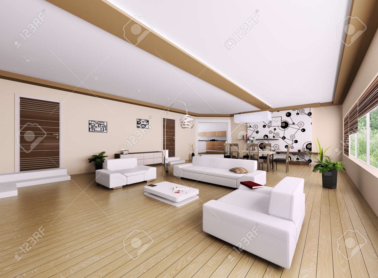 Interieur van de moderne appartement, woonkamer 3d render royalty ...