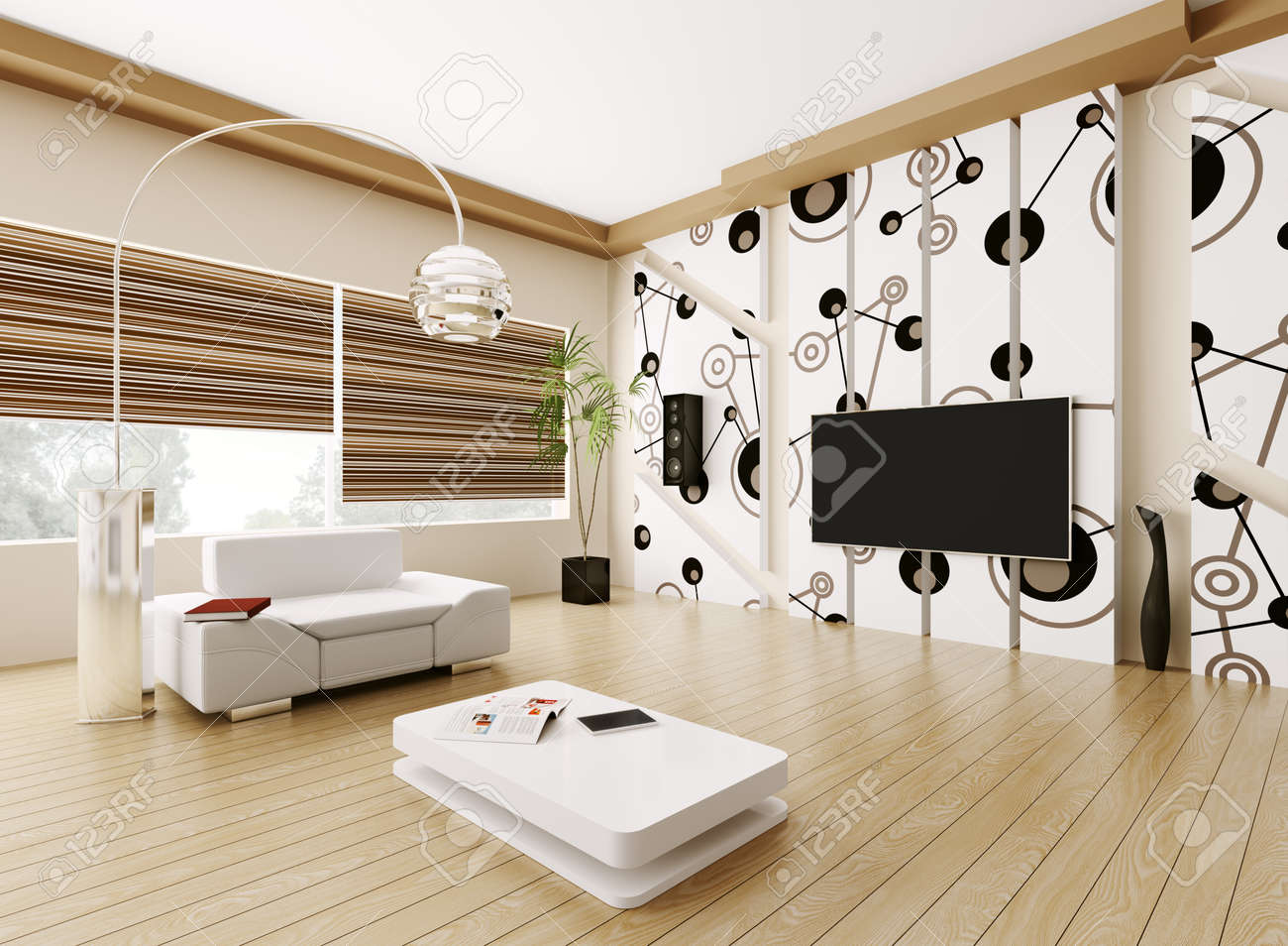 Interior Of Modern Living Room 3d Render Stock Photo, Picture And ...