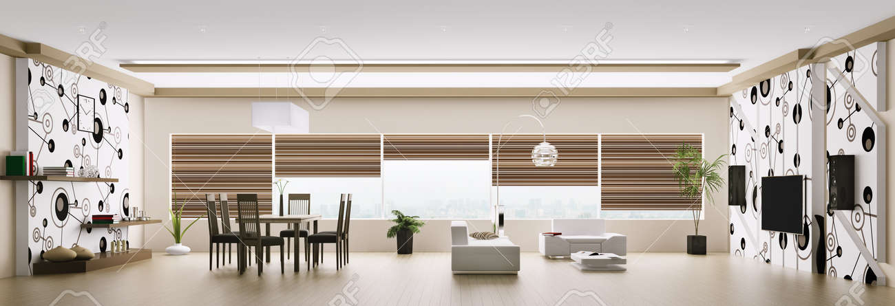 Interior of modern apartment living room panorama 3d render Stock Photo - 18219488