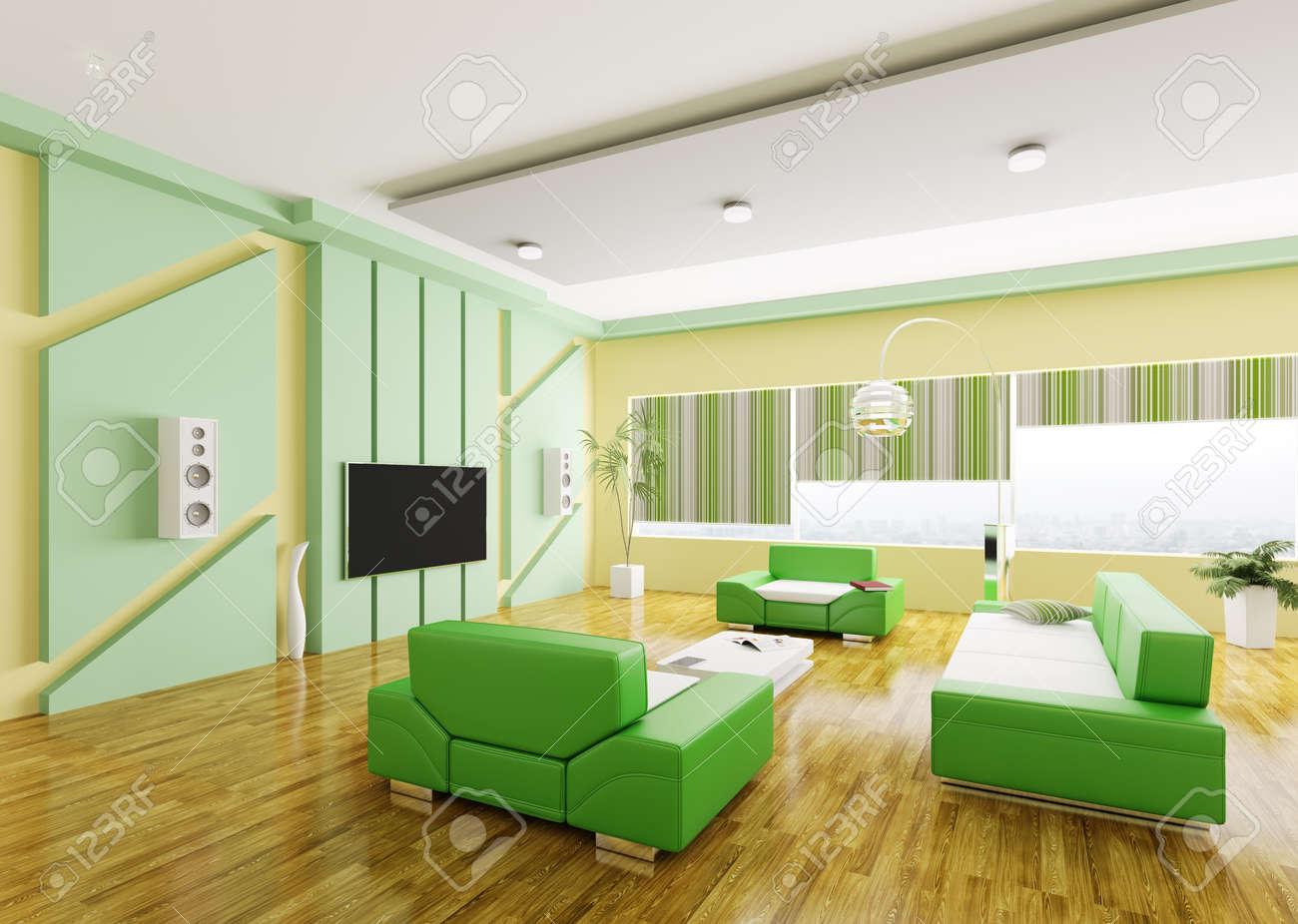 Interior Of Modern Gelb Grün Wohnzimmer 3d Render Lizenzfreie Fotos ...