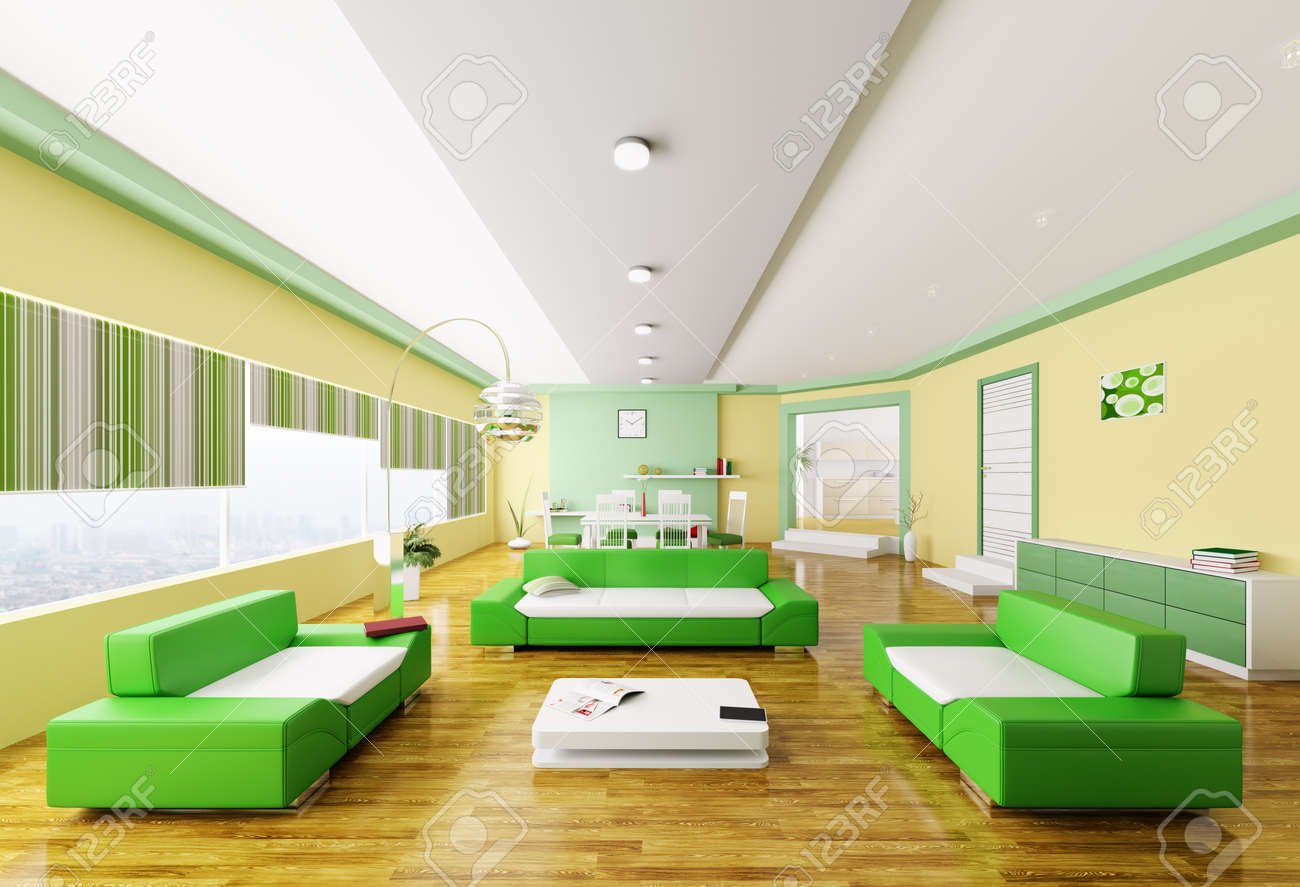 Interior of modern yellow green living room 3d render Stock Photo - 18358257