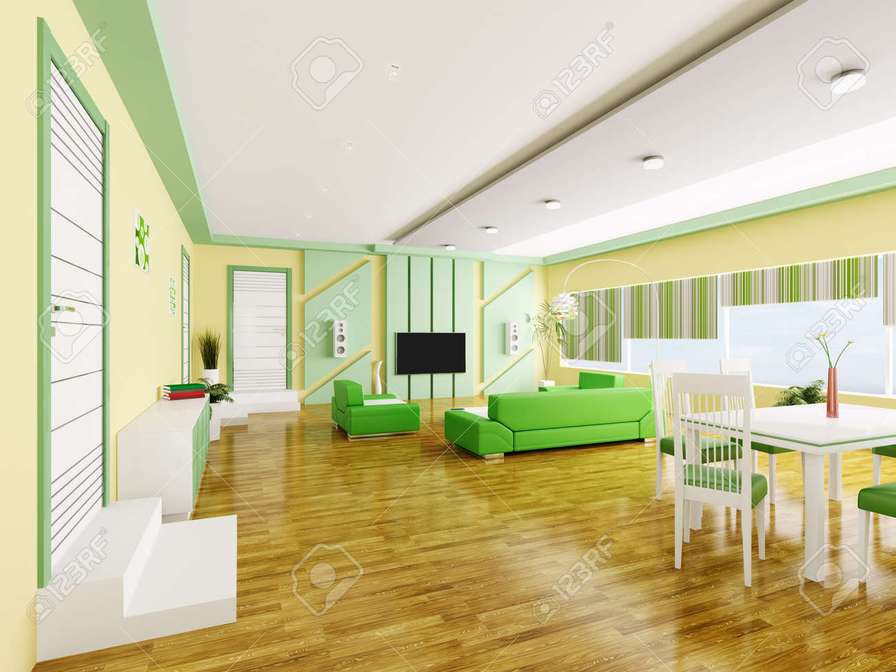 interior of modern yellow green apartment 3d render stock photo