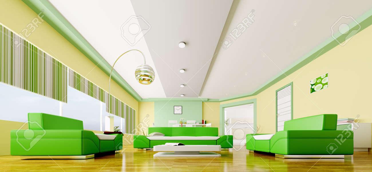 Interior Of Modern Gelb Grün Wohnzimmer Panorama 3d Render ...