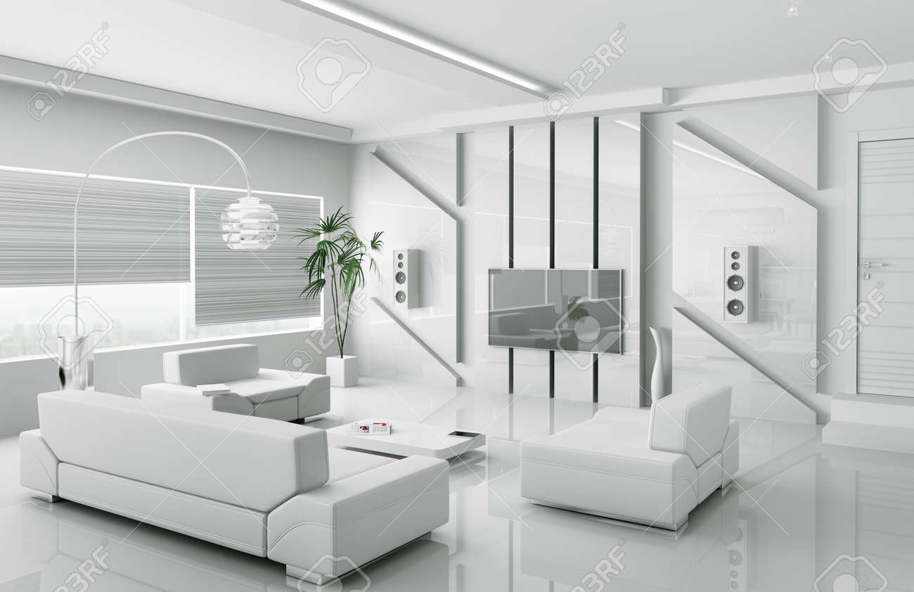 Delightful Interior Of Modern White Living Room 3d Render Stock Photo   18721866