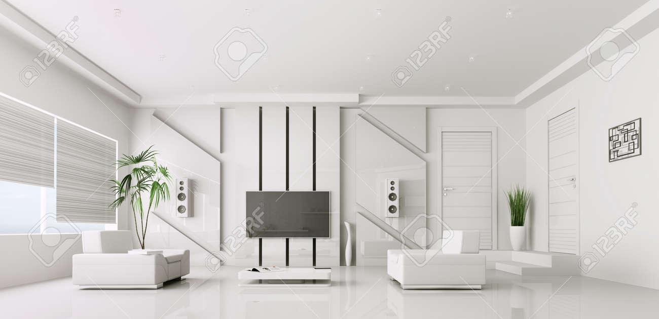 Intérieur de salon moderne blanc avec plasma tv 3d render