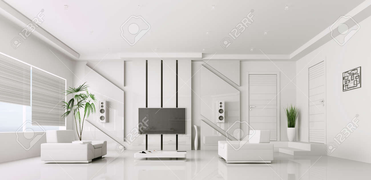 Interior Of Modern White Living Room With Plasma Tv 3d Render ...