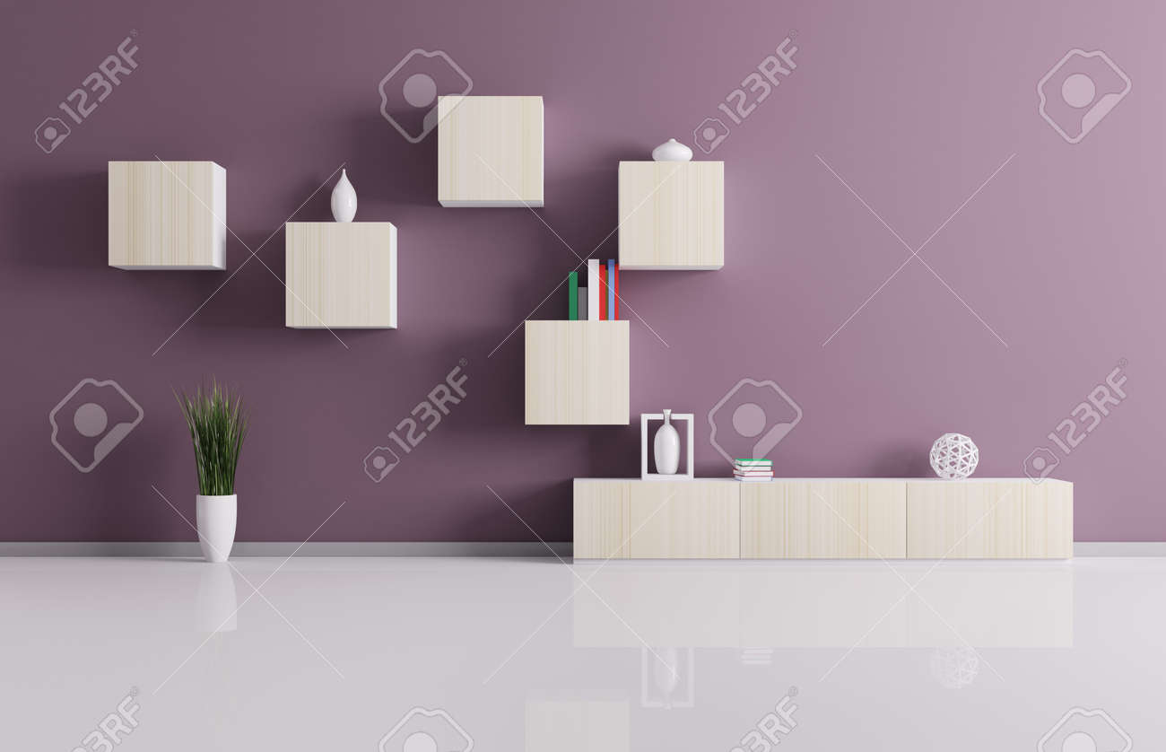 Interior of living room with shelves background 3d render Stock Photo - 18785010