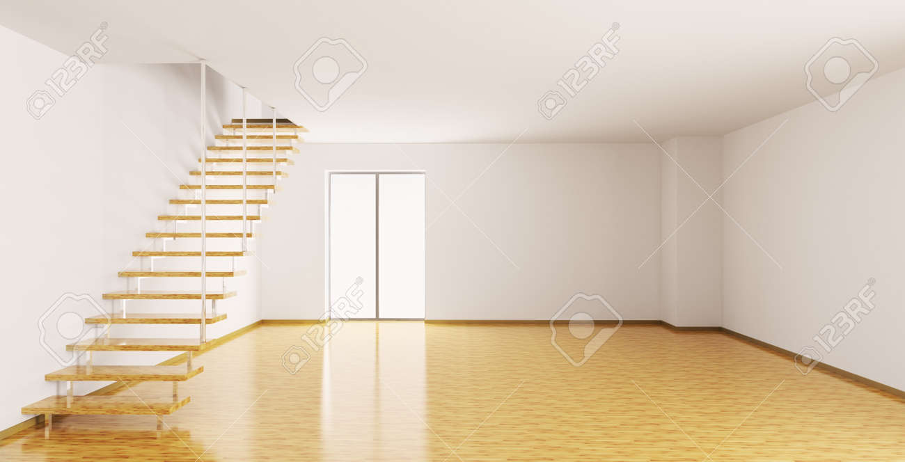 empty house empty interior of a room with staircase 3d render