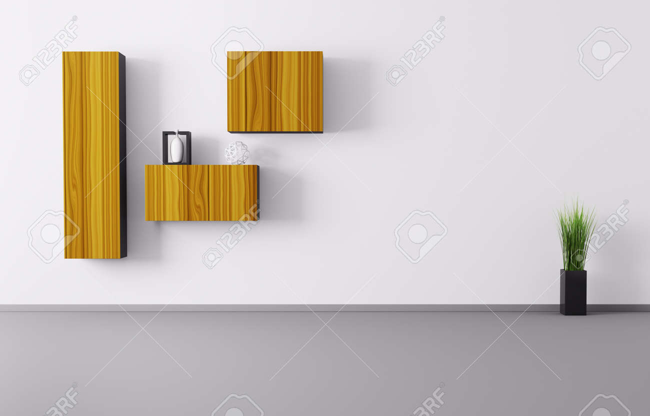 Interior Of Living Room Background 3d Render Stock Photo