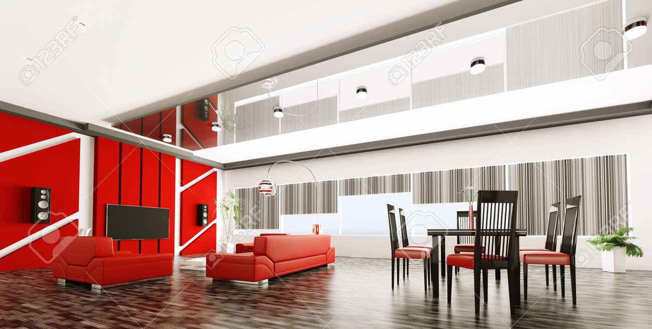 Interior of modern apartment living room panorama 3d render Stock Photo - 21972638