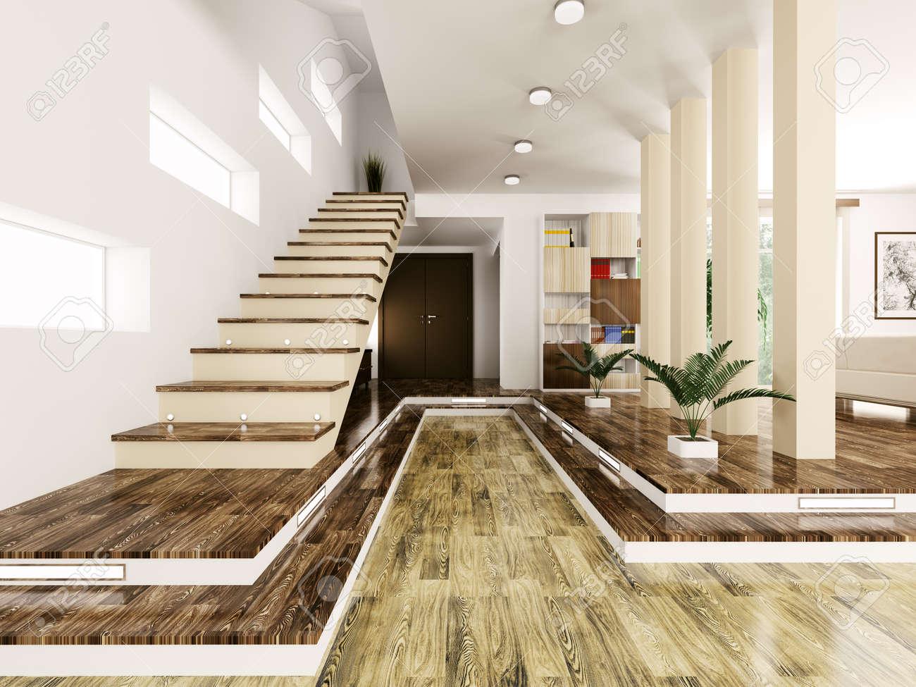 Intérieur Du Hall D\'entrée Avec Escalier Moderne, Rendu 3d Banque D ...