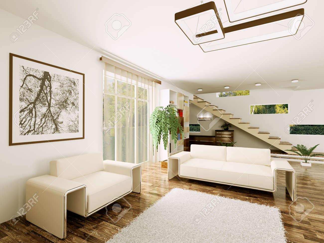 Escalier Dans Un Salon intérieur d'un salon moderne avec escalier de rendu 3d