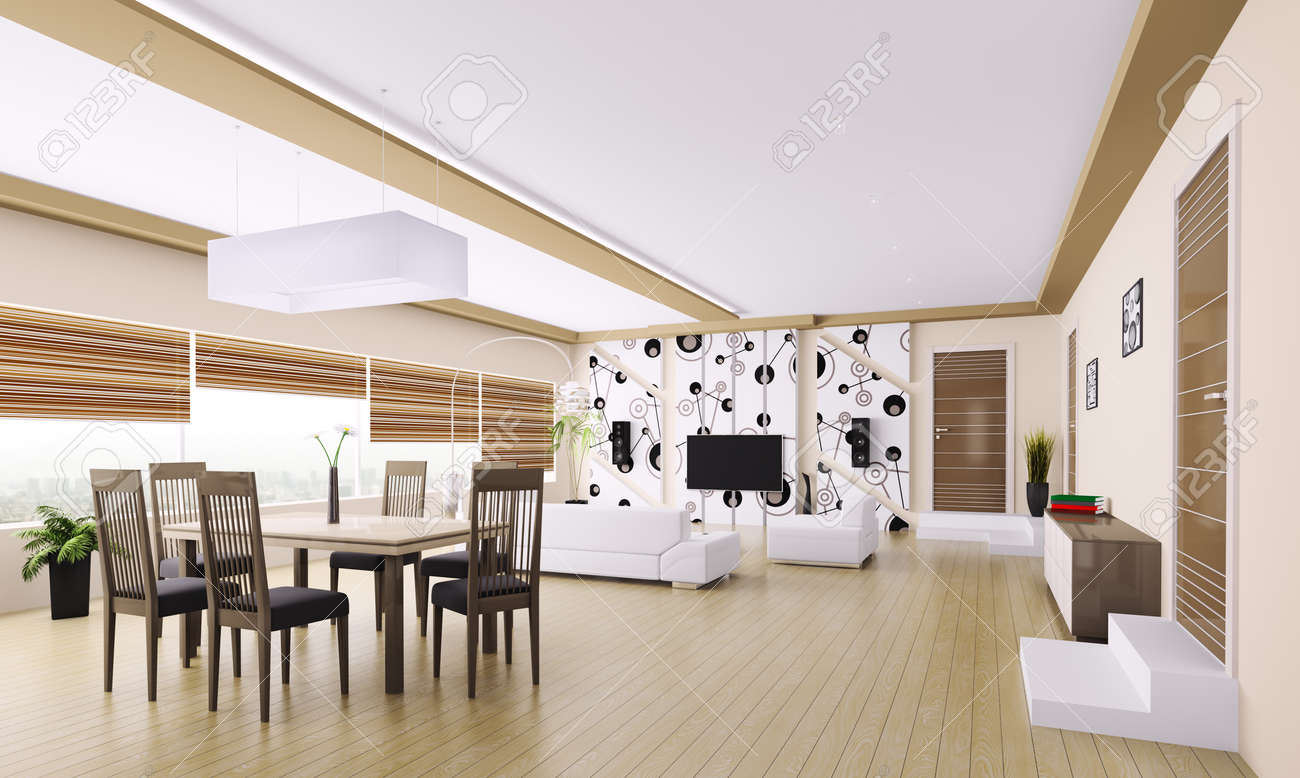 Interior of modern apartment living room 3d render Stock Photo - 23035698