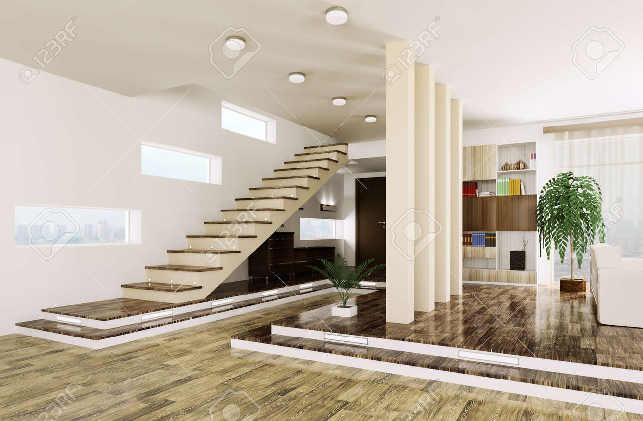 Interior Of Modern Entrance Hall With Staircase 3d Render Stock
