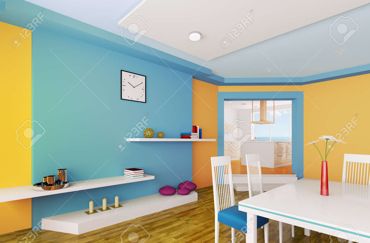 Interior of modern orange blue dining room 3d render Stock Photo - 23035733