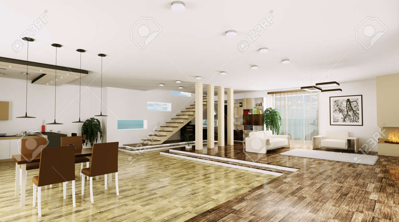 Interior of modern apartment living room hall 3d render Stock Photo - 23035742