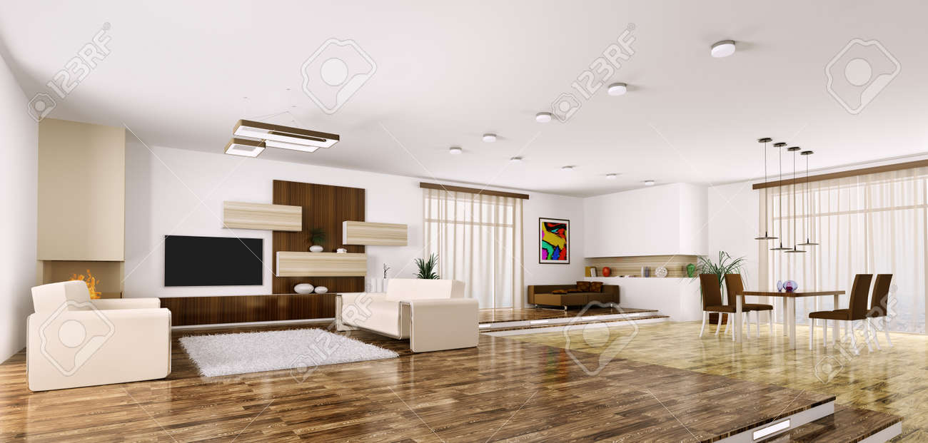 Modern apartment living room - Interior Of Modern Apartment Living Room Panorama 3d Render Stock Photo 23035743