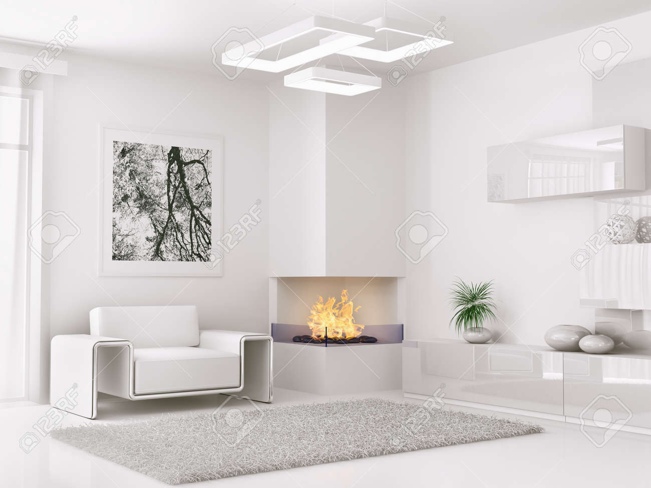 Modern White Room interior of modern white room with armchair and fireplace 3d