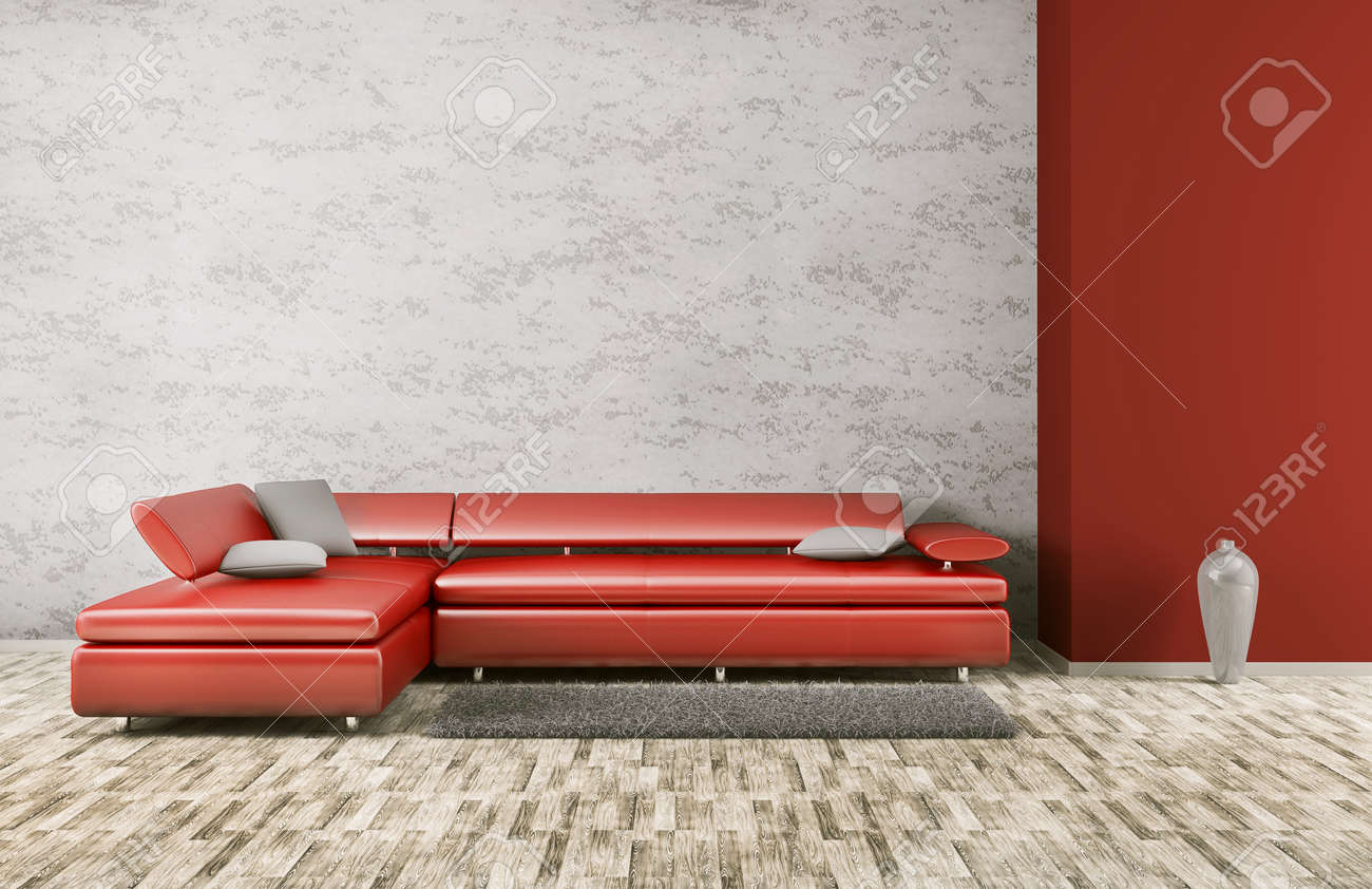 Interior Of Living Room With Red Sofa 3d Render Stock Photo, Picture ...