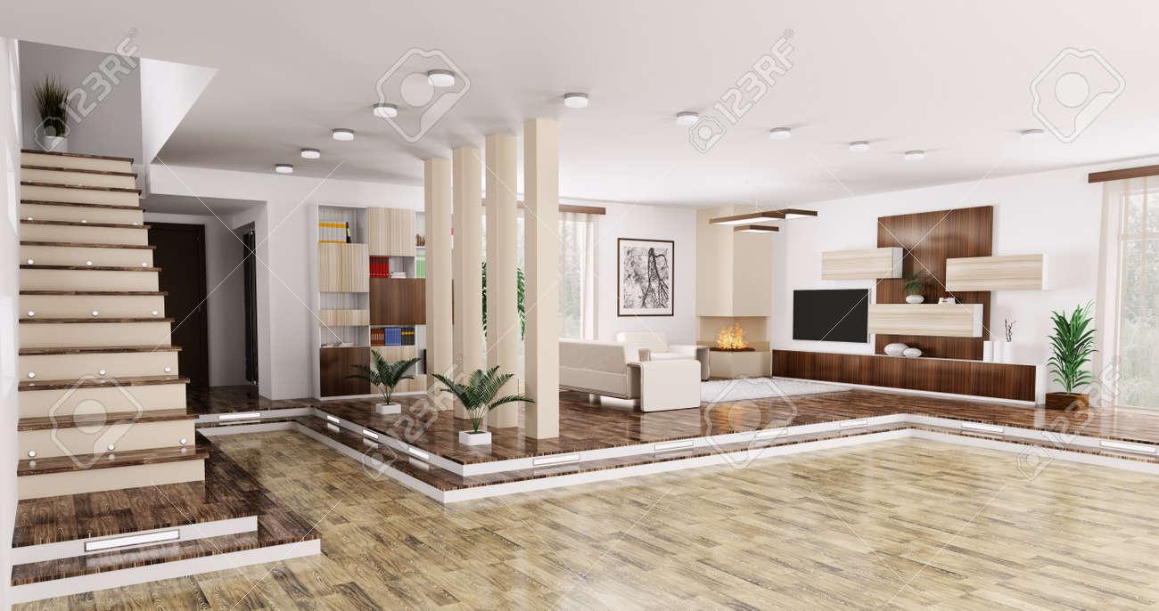 Intérieur D\'appartement Moderne Salon Salle Panoramique 3D Render ...