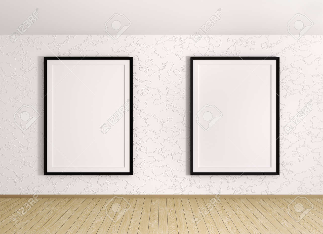 Interior With Two Frames Over The Stucco Wall Stock Photo Picture