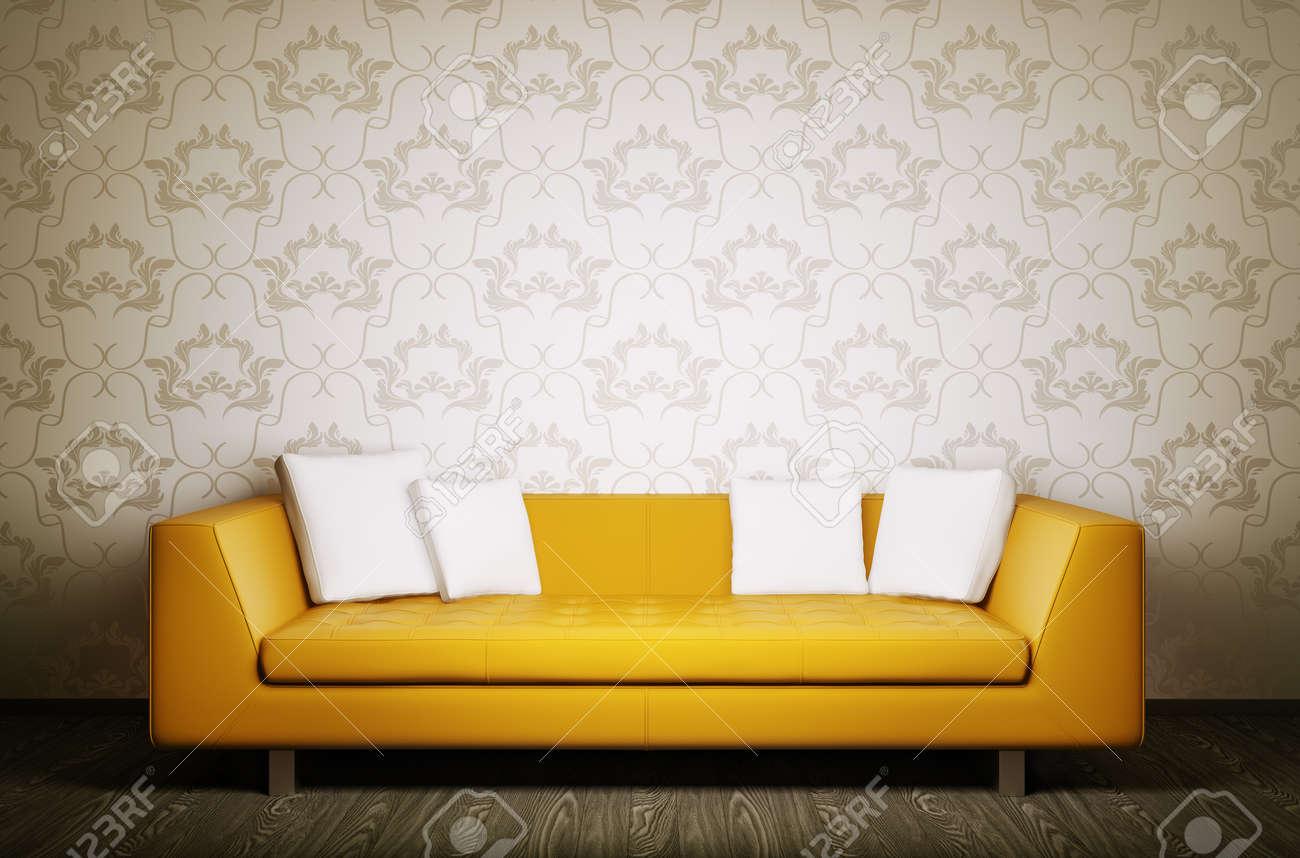 Modern interior with orange sofa 3d render Stock Photo - 24536564