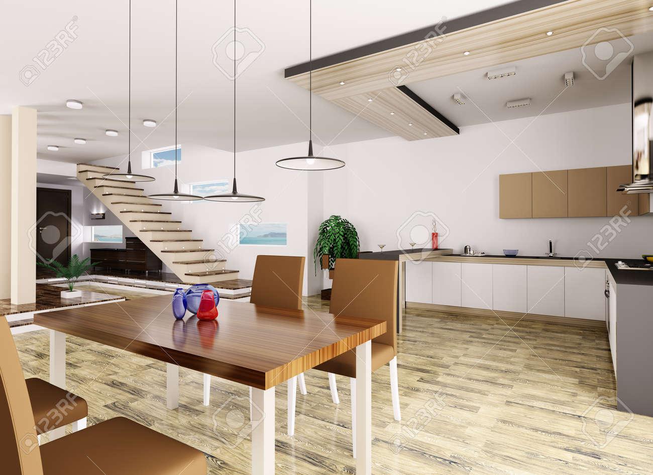 El interior del apartamento cocina salón comedor