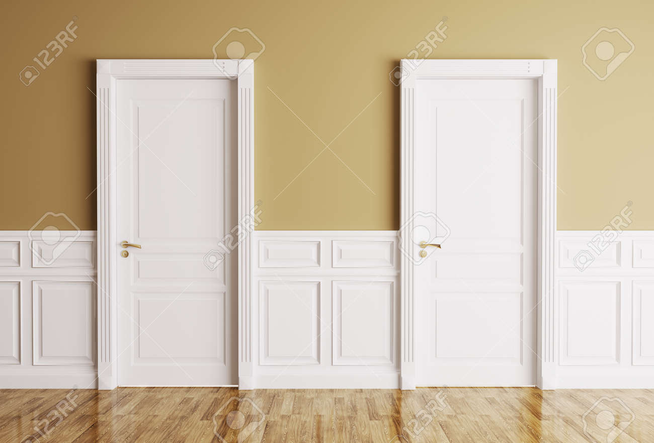 Awesome Interior Of A Room With Two Classic Doors Stock Photo   24890011