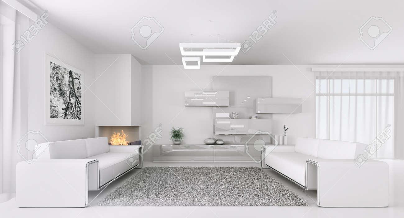Intérieur d\'un salon moderne blanc avec deux canapés rendu 3d