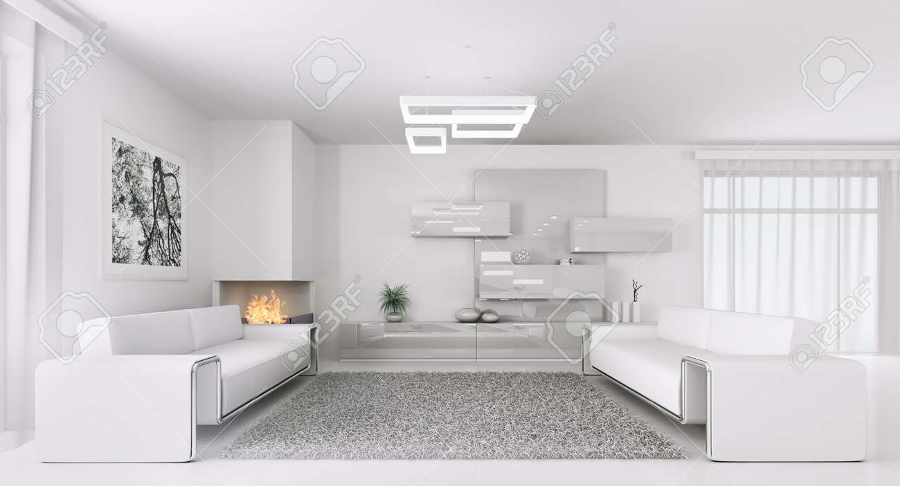 Interior Of Modern White Living Room With Two Sofas 3d Render Stock ...